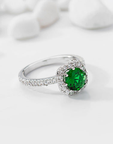 Premium Platinum Plated Green Austrian Crystal Ring