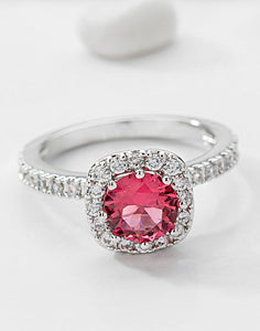 Premium Platinum Plated Red Austrian Crystal Ring