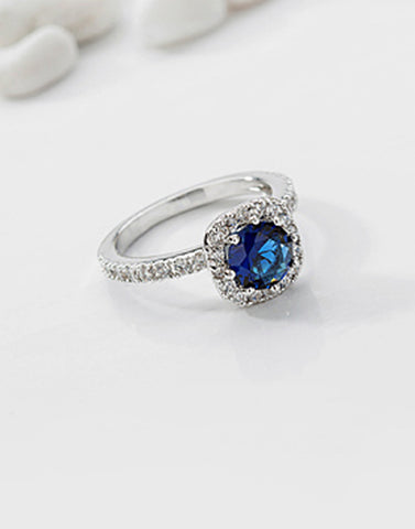 Premium Platinum Plated Blue Austrian Crystal Ring
