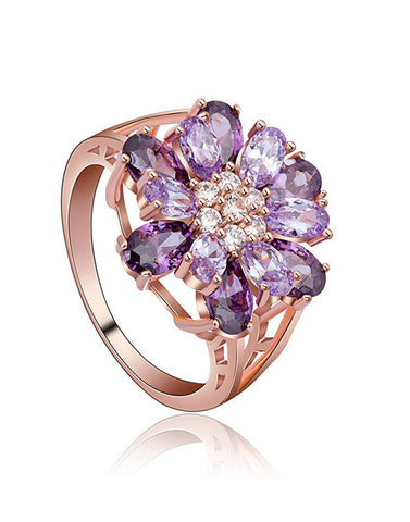 Premium Rose GoldPlated Purple Cubic Zirconia Ring