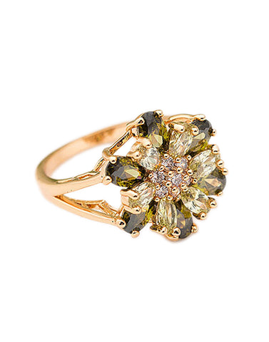 Premium Rose GoldPlated Green Cubic Zirconia Ring