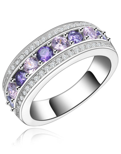 Platinum Plated Elegant Austrian Crystal Purple Band Ring