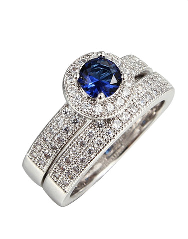 Platinum Plated Blue Elegant Austrian Crystal Ring Pair