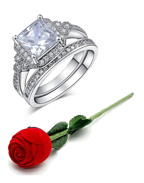 Valentine Gift by Karatcart Platinum Plated Elegant Austrian Crystal Ring Pair for Women