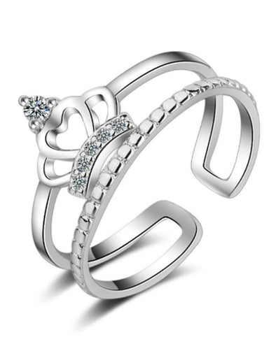 Platinum Plated Elegant Austrian Crystal Crown Ring