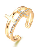GoldPlated Elegant Austrian Crystal Adjustable Cross Ring