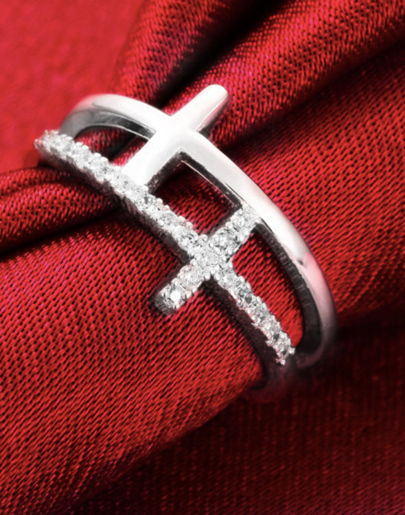 Platinum Plated Elegant Austrian Crystal Adjustable Cross Ring