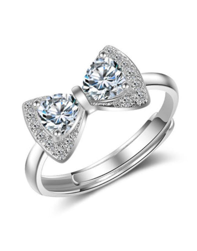 Platinum Plated Elegant Austrian Crystal Bow Adjustable Ring