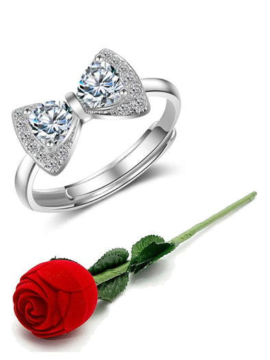 Valentine Gift by Karatcart Platinum Plated Elegant Austrian Crystal Bow Adjustable Ring for Women