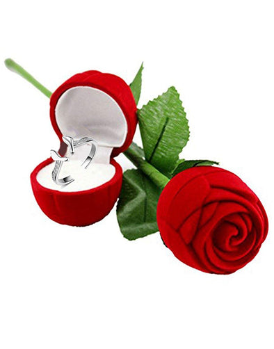 Silver Platinum Plated Metal Elegant Austrian Crystal Foot Print Ring with Red Rose Case