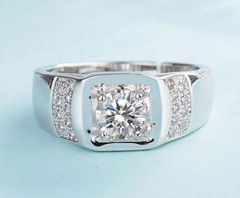Platinum Plated Austrian Crystal Adjustable Ring