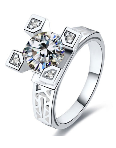 Platinum Plated Elegant Austrian Crystal Ring