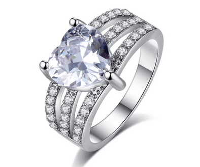 Platinum Plated Elegant Austrian Heart Cut Crystal Ring