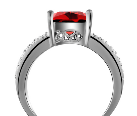 Platinum Plated Elegant Red Austrian Crystal Ring