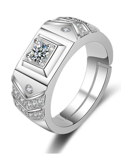 Platinum Plated Austrian Crystal Adjustable Men Ring