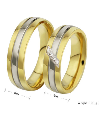 Golden Titanium Elegant Couple Band Ring