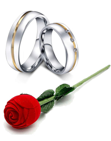 Valentine Gift by karatcart Silver Crystal Titanium Elegant Couple Band Ring for Men and Women