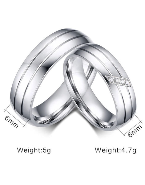 Silver Titanium Elegant Couple Band Ring