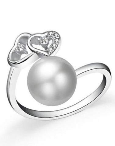 Platinum Plated Elegant Austrian Crystal Adjustable Ring