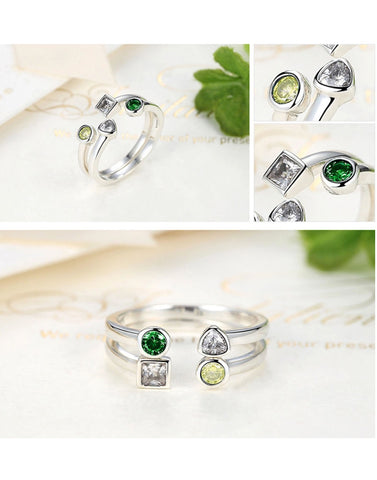 Platinum Plated Elegant Austrian Crystal Ring Set