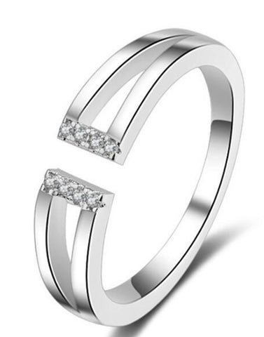 Platinum Plated Elegant Adjustable Ring