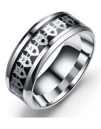 Titanium Silver Band Ring for Men