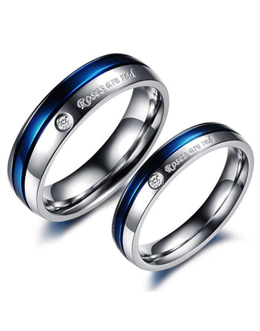 Valentine Gift Bykaratcart Silver Crystal Titanium Blue Couple Band Ring for Men and Women