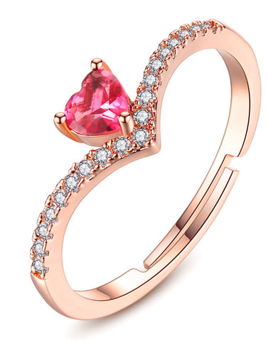 Rose GoldPlated Elegant Austrian Crystal Adjustable Ring