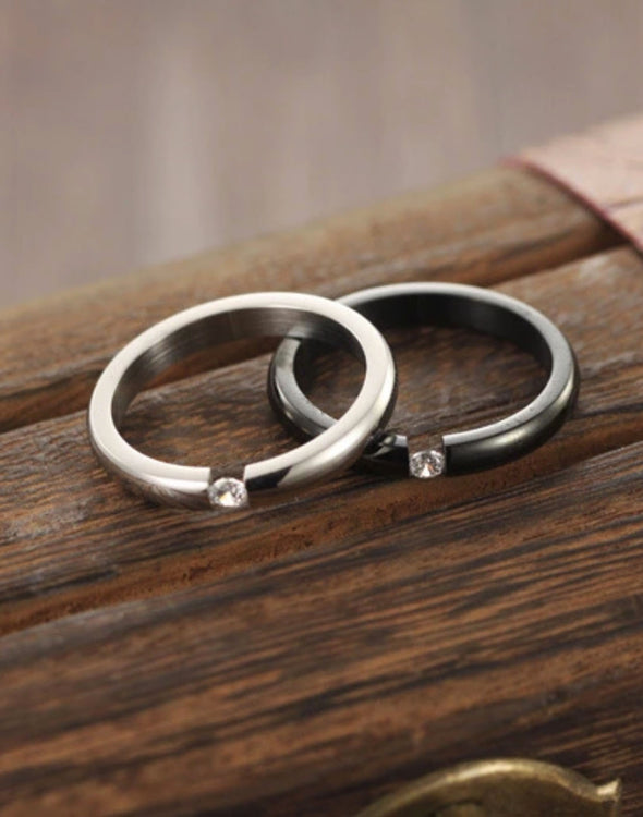 Titanium Elegant Couple Band Ring