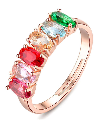 Rose GoldPlated Elegant Austrian Multi-Colour Crystal Ring