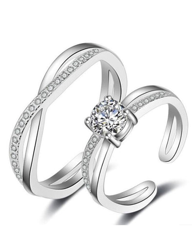 Platinum Plated Eternal Promise Couple Solitaire Ring