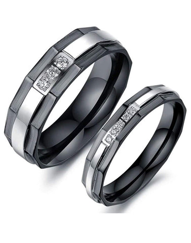 Valentine Gift by karatcart Black Titanium Elegant Couple Band Ring for Men and Women