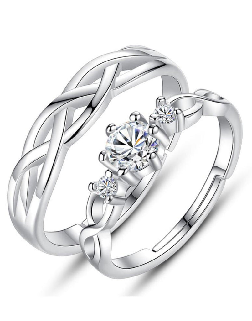 Platinum Plated Elegant Couple Adjustable Solitare Ring