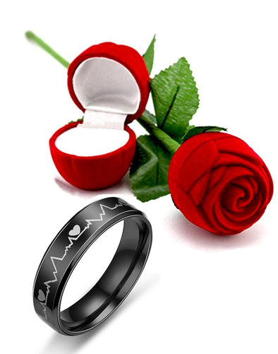 Valentine Gift by Karatcart Titanium Black Band Ring for Men