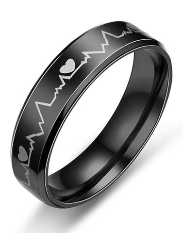 Titanium Black Band Ring for Men