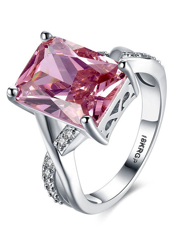 Platinum Plated Elegant Austrian Crystal Pink Ring