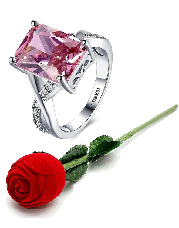 Valentine Gift by Karatcart Platinum Plated Elegant Austrian Crystal Pink Ring for Women