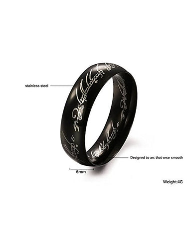 Lord of The Rings 100% Stainless Steel Black Ring for Boys and Men