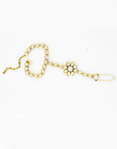 GoldPlated Kundan Pearl Chain Hathphool
