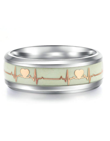 Dark Luminous ECG Heartbeat Titanium Ring Promise Heartbeat Glow in Dark Ring for Men