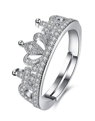 Platinum Plated Elegant Austrian Crystal Party wear Designer Crown Cut Adjustable Ring for Women