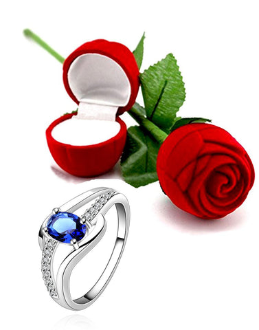 Valentine Gift by Karatcart Platinum Plated Elegant Austrian Crystal Exclusive Royal Blue Ring for Women
