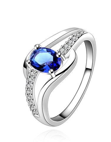 Platinum Plated Elegant Austrian Crystal Exclusive Royal Blue Ring for Women
