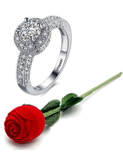 Karatcart Platinum Plated Elegant Austrian Crystal Royal Queen Designer Solitaire Ring for Women