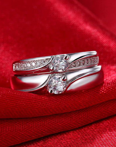 Platinum Plated Elegant Couple Adjustable Solitaire Ring