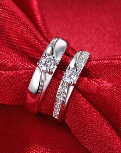 Platinum Plated Elegant Couple Adjustable Solitaire Band Ring