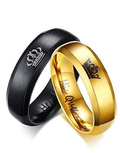 Golden Titanium Elegant King and Queen Couple Band Ring
