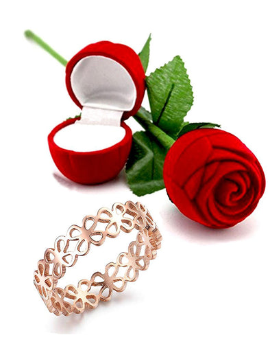 Valentine Gift by Karatcart Rose GoldPlated Flower Signet Carved Western Style Stainless Steel Ring for Women