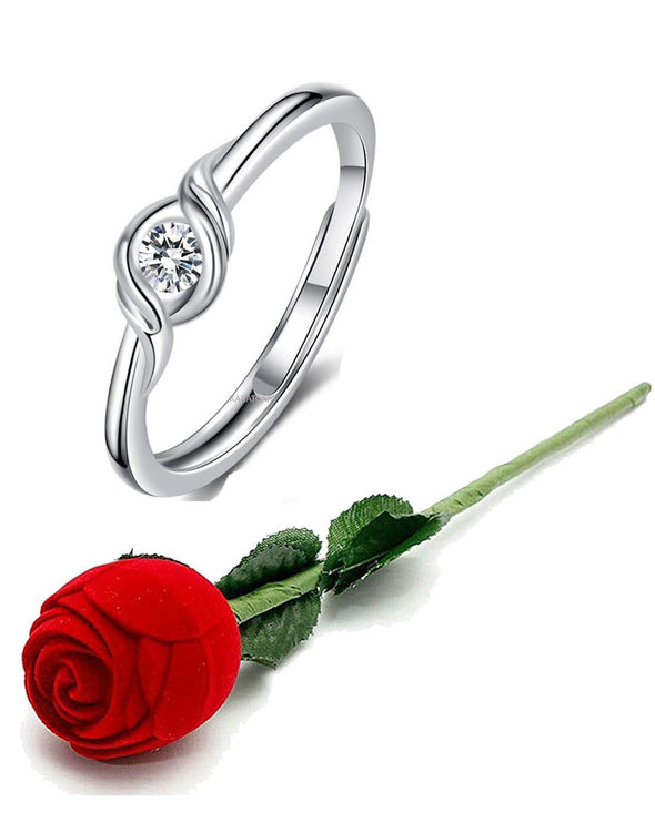 Valentine Gift by Karatcart Platinum Plated Elegant Austrian Crystal Designer Ring for Women