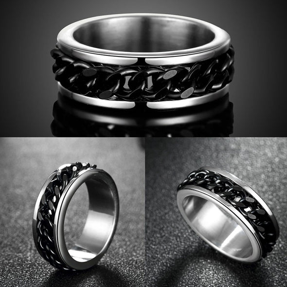 Karatcart Dude Chain Stainless Steel Silver Rings for Men and Boys (Black Chain)